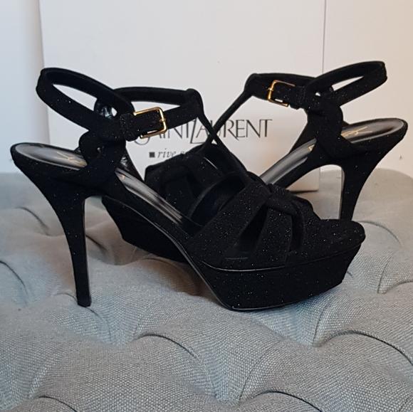 YSL Yves Saint Laurent Tribute Glitter Sandals